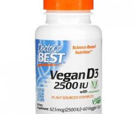 D3 с Vitashine D3 (в виде холекальциферола) Doctor's Best, 2500 МЕ, 60 капсул